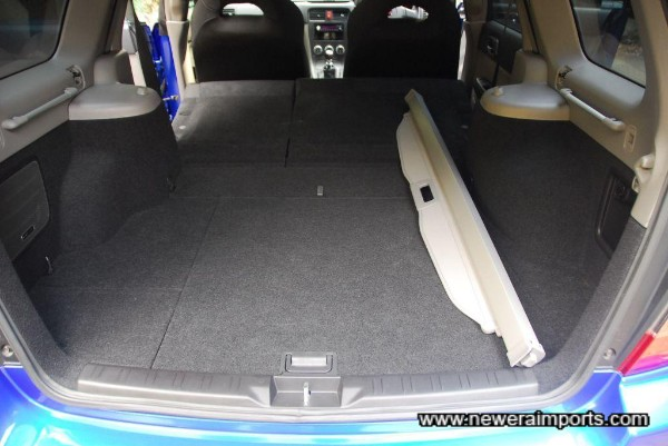 Cavernous boot space with rear seats folded flat.