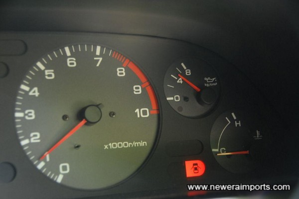 Oil pressure over 2.5 kg/mm at idle when warmed. A sign of a very good engine with plenty of life.