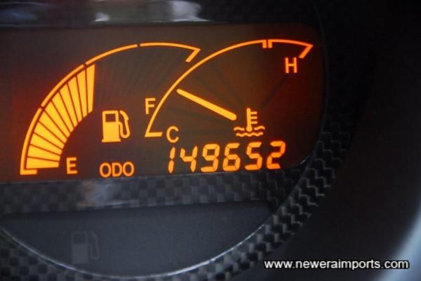 Odo shows total mileage in km.