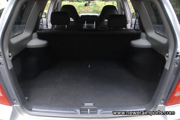 Boot area has unmarked carpet.