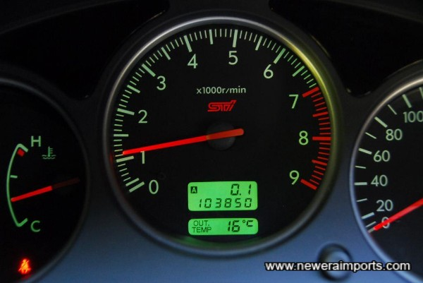 Odometer shows total mileage covered in kms.