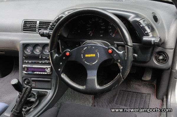 Momo F1 steering wheel and HICAS compatible short boss kit.