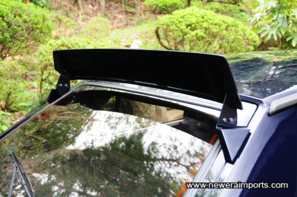 Rear spoiler mounts place spoiler vertical just like period Gruppe B rally cars.