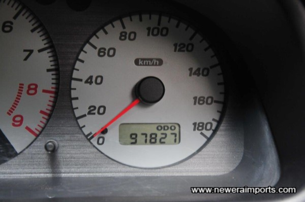 Odometer shows total distance in km since new.