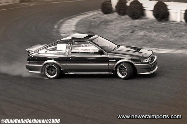 Action shot. Not many AE86's have the power to make smoke!