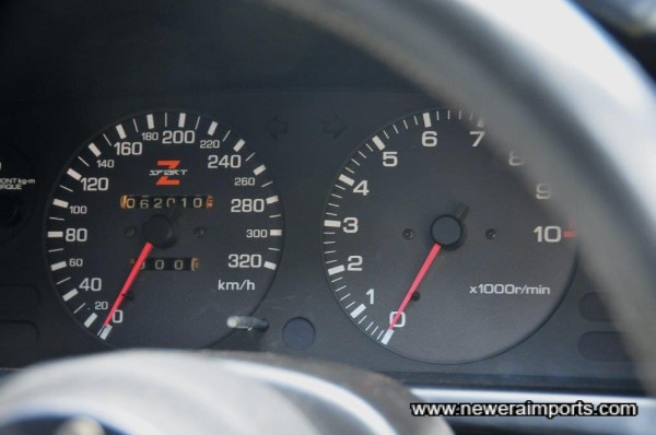 320km speedometer fitted since new when the Mine's ECU was fitted (Car is de-restricted & makes higher boost than std).