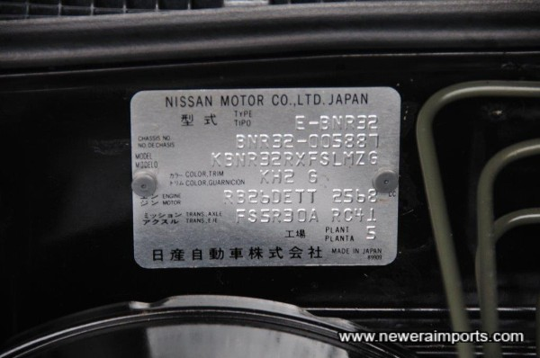 Original Nissan Chassis Plate.