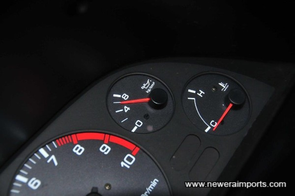 Oil pressure is 6 kg/mm when cold. A sign of a healthy engine with plenty of life to give.