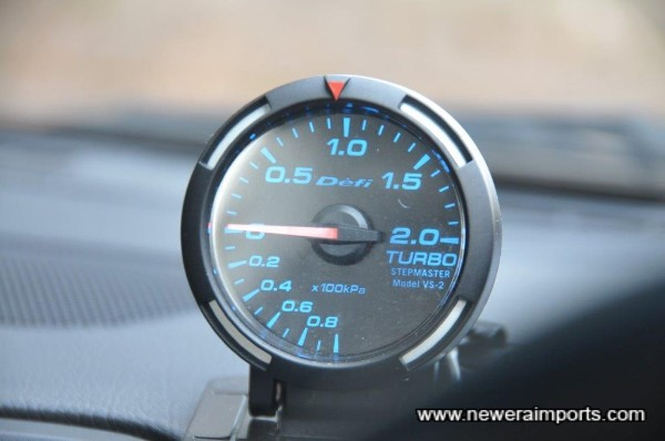 Defi Racer Boost gauge is fitted.