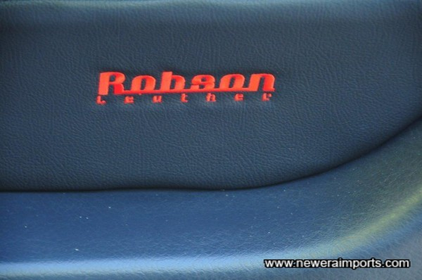 Robson Leather logo is on the front seat headrests & door trims.