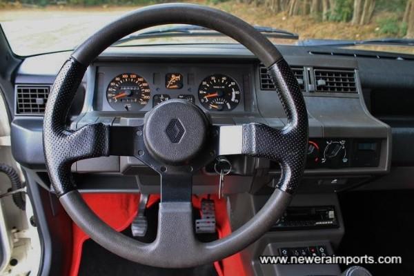 Steering wheel is unworn.