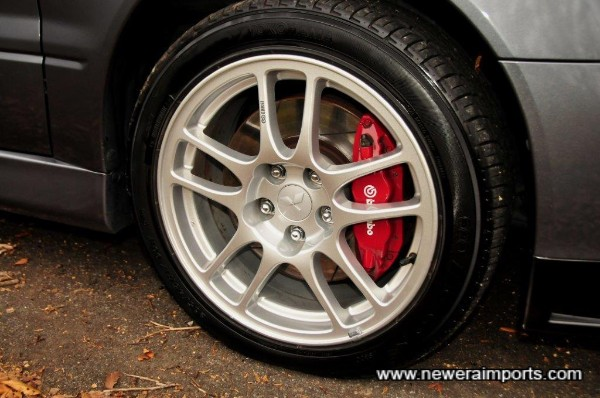 Note calipers have no heat damage, indicating this car has always been driven at slow speeds.