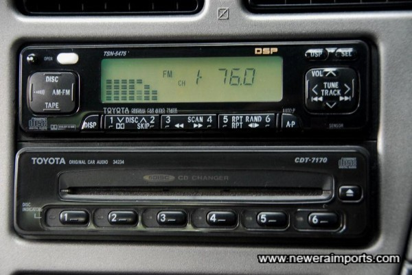Original option in-dash 6 CD changer is very rare & sought after by Toyota sports car collectors.